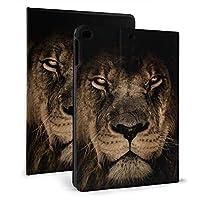 アフリカのライオンの顔 IPADレザーケース タブレットケース 可愛い 傷防止 耐衝撃 三つ折タイプ 人格 軽量 薄型