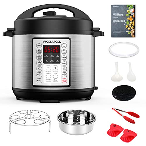 Rozmoz 14-in-1 Electric Pressure Cooker Instant Programmable Pressure Pot, 6 Quart, Stain-Resistant Slow Cooker, Steamer, Saute, Yogurt Maker, Egg Cook, Sterilizer, Warmer, Rice Cooker with 10 Deluxe Accessory kits