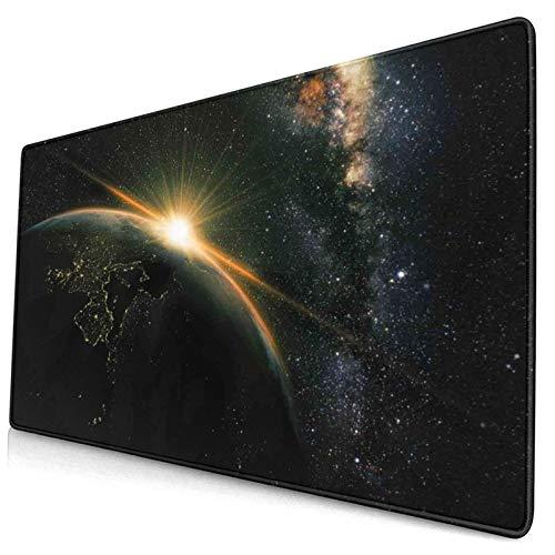 CONICIXI Alfombrilla de ratón Impresión de Galaxy Sun Rising Above Earth 400x900 mm Alfombrillas de Escritorio Profesionales Base de Goma Antideslizante Teclado Extra Grande para Juegos