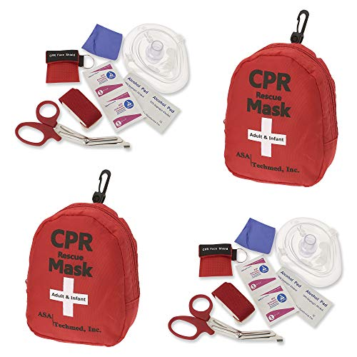 2 Pack Emergency First Aid Kit - CPR Rescue Mask, Pocket Resuscitator with One Way Valve, EMT Trauma Scissors, Tourniquet, Gloves, Antiseptic Wipes   Ideal for CPR Training, Sports, Camping, Home