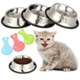 tonyg-p 3 Pack Cat Bowl Stainless SteelCat Food Water BowlNon-slip Cat Feeding Bowls with 3 Food Scoops for Cats Puppies Rabbits Small Pets