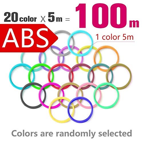 without KF-3D, Quality Product Abs 1.75mm 20 Colors 3d Printer Filament Pla 1.75mm Rainbow Abs Filament 3d Filament 3d Printer Abs 3d Pen Wire (Color : 20color 5M total 100M)