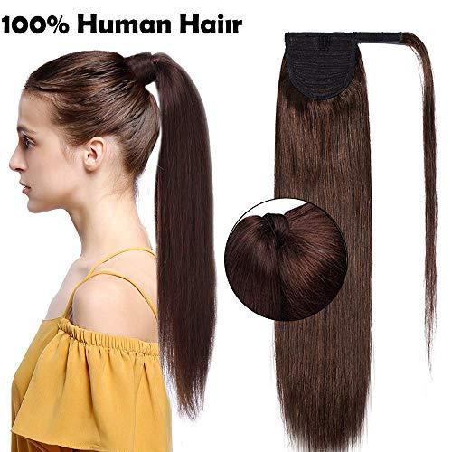 Ponytail Extension Clip in Echthaar Pferdeschwanz Haarteil Haarverlängerung Zopf Hair Piece Mittelbraun#4 20