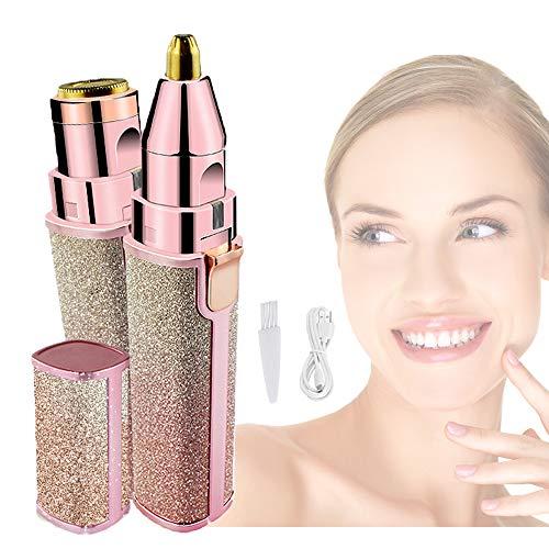 Depiladora Facial Mujer, Depiladora Cejas Mujer, Eléctrica Depiladora Cejas, Depiladora Facial Mujer Electrica Sin dolor, 2 en 1 USB recargable afeitadora portátil Impermeable Luz LED
