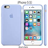 Funda Silicona para iPhone 5, 5s, SE Silicone Case, Logo Manzana, Textura Suave, Forro Microfibra (Azul Claro)