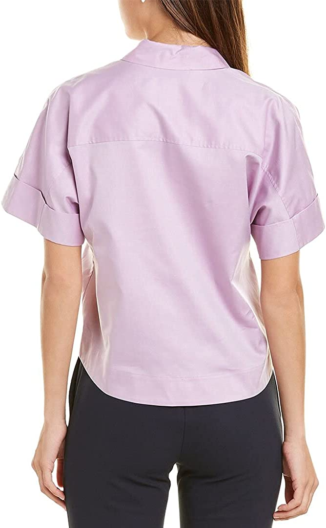 Theory Cropped Button-Down Top