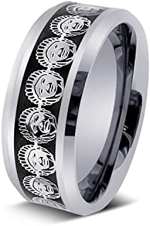 9MM Men's Tungsten Carbide 3D American Indian Chief Inlay Wedding Band Ring (10)