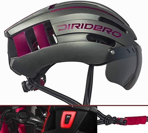 DIRIDERO Casco Bici Luce LED, Certificato CE, Casco con Visiera Magnetica Staccabile, Casco da Bici Super Leggero, Casco Integrale, MTB e Bicicletta Skateboarding Sci & Snowboard per Adulti