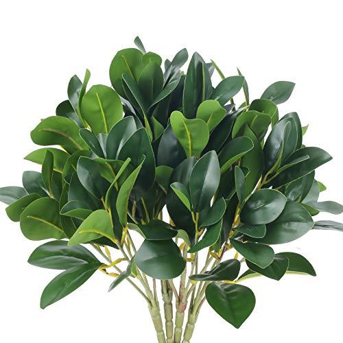 NAHUAA 4Pcs Plantas Verdes Artificial Hojas Arbusto de Plantas Artificiales Plastico Verde Plantas Se Utiliza para el Hogar, La Oficina, el jardín, Los arbustos, la decoración de Bodas