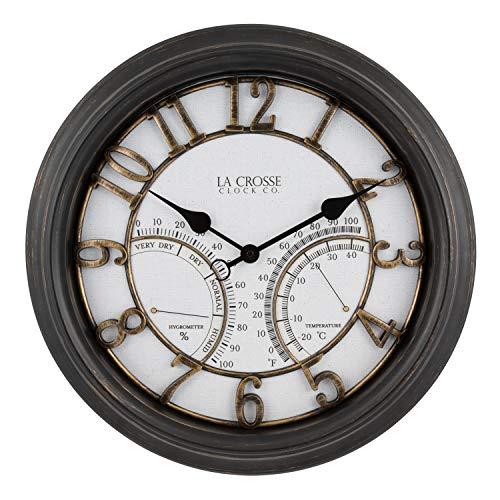 La Crosse Technology 404-4450 19.7 Inch Indoor/Outdoor Courtyard Quartz Wall Clock, Brown