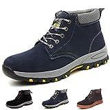 Zapatillas de Seguridad Hombre Trabajo Botas de Seguridad Mujer Zapatos con Punta de Acero Ligeras Comodas Industriales, A201 Azul 43