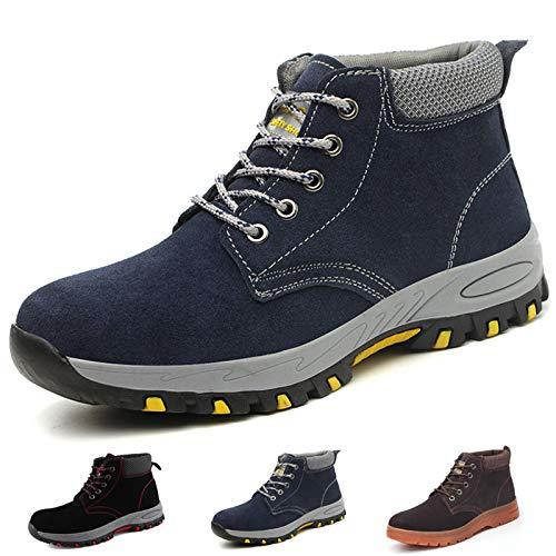 Zapatillas de Seguridad Hombre Trabajo Botas de Seguridad Mujer Zapatos con Punta de Acero Ligeras Comodas Industriales, A201 Azul 44