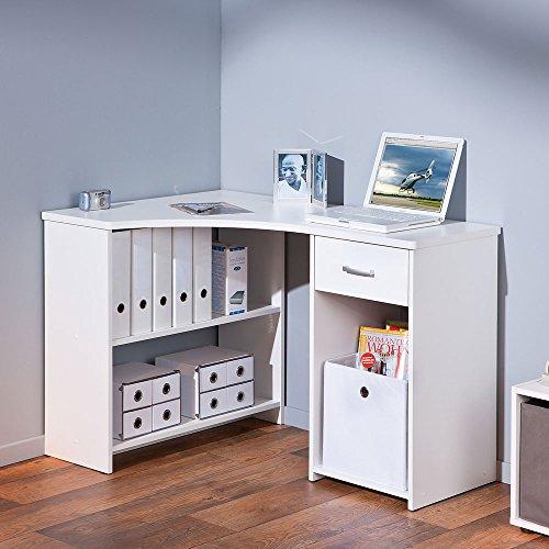 Pharao24 Eck Schreibtisch in Weiß kaufen