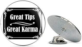 Black Great Tips Great Karma (Bartender tip jar Accept Tipper) Metal 0.75
