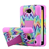 LG Transpyre/Tribute Case, MPERO Impact X Series Dual Layered Tough Durable Shock Absorbing Silicone Polycarbonate Hybrid Kickstand Case [Perfect Fit & Precise Port Cut Outs] - Pink Tie Dye Chevron