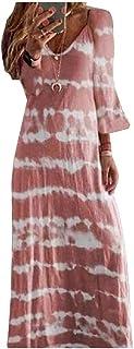 Zimaes Womens V Neck Floral Tribal Half Sleeve Plus-size Lounge Maxi Dress
