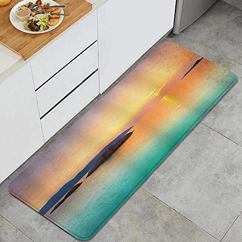 PANILUR Küchenfußmatten Küche Bodenmatte Komfort,Magischer Sonnenaufgang am Meer über dem Meer in Con Dao Vietnam Bunte Himmelsreflexion auf Seehorizontansicht,rutschfeste Küche Teppiche