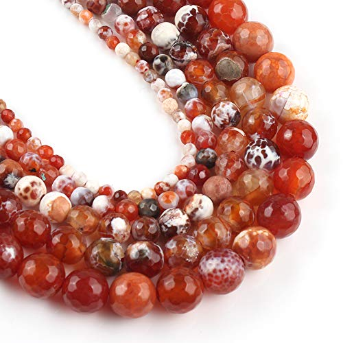 Yochus 6mm Faceted Red Fire Agates Round Stone Beads Natural Stone Beads for Jewelry Making