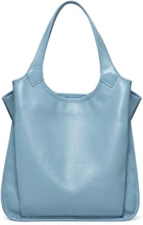 FengheYQ Women's Leather Tote Bag Large Capacity Litchi Leather Tote Messenger Bag Fashion Trend Lady Messenger Bag Tote Size:31.5 * 14 * 31.5cm (Color : Light Blue)