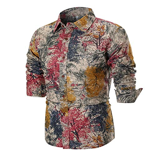 Luckycat Herren Blumen Button Down Casual Langarm Hemd