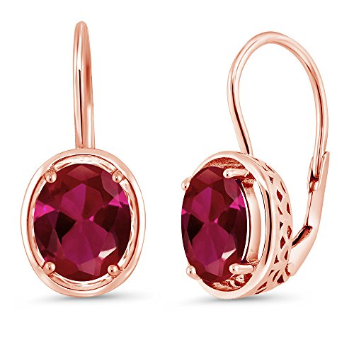 Gem Stone King 4.00 Ct Oval Red Created Ruby 18K Rose Gold Plated Silver Dangle Earrings 9X7MM