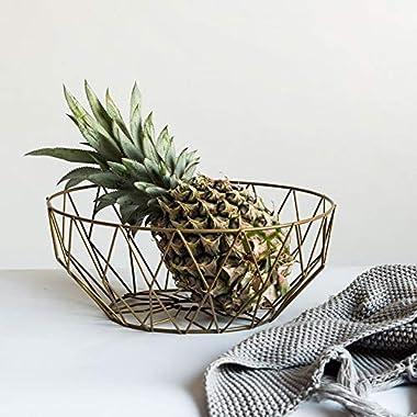 Per Iron Fruit Bowl Basket Rhombus Framework Style Fruits Vegetables Snack Storage Holder Tray-Gold