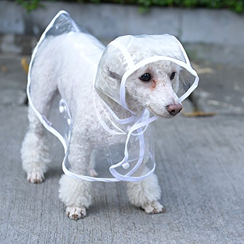Doglemi Clear Pet Dog Cat Raincoat Clothes Puppy Glisten Bar Hoody Waterproof...