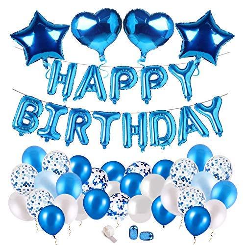 MOULLY Globos de Cumpleaños Azules para Niño, Azul Globos con Confeti, Globos de Látex Azules y Blancos, Globos para La Boda Aniversario, Globo de Cumpleaños Fiesta Decoración