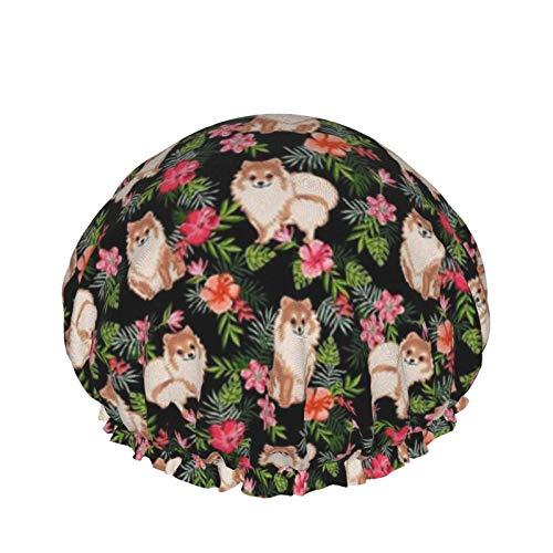 Gorro de baño Pomeranian Hawaiian Pom Pom Dog Camisa hawaiana Gorro de ducha tropical Gorro de ducha Impermeable Doble capa Reutilizable Gorro de dormir elástico