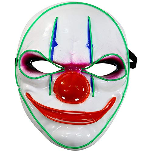 CafopGrill Halloween-masker, oplichtend, verkoelend, LED, lila, clown licht voor feestjes, cosplay, festival, masker licht