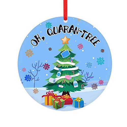 FaCraft 2020 Christmas Ornament Quarantine,3' Funny Christmas Ornament with Mask,Oh Quaran-Tree Toilet Paper Tree Decorations Gift for Family Friend
