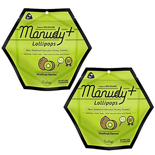 マヌカハニー ロリポップ キャンディ MGO250+ 2袋セット 個包装 ロゼンジ はちみつ 蜂蜜 フルーツフレーバー ニュージーランド産 輸入菓子 (キウイ)