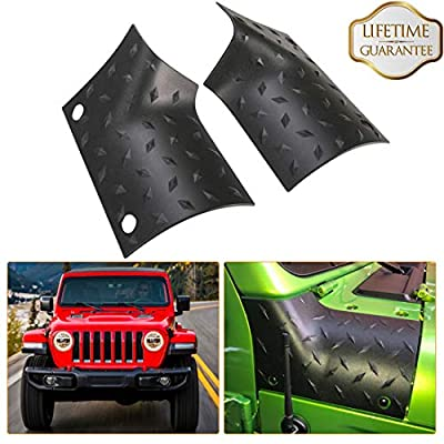 KIWI MASTER Cowl Body Armor Outer Cowl Covers JL Corner Guards for 2018-2020 Jeep Wrangler JL Gladiator JT Sahara Sport Rubicon, JL Exterior Accessories Parts, Black