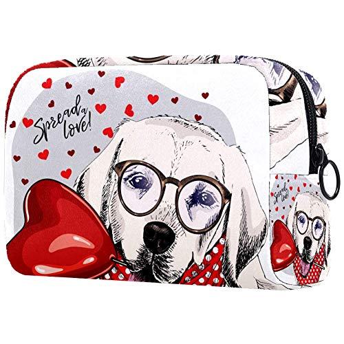 Bolsa de cosméticos para mujeres, Labrador Retriever lindo perro lleva gafas en...