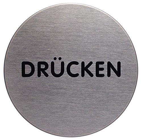 Durable 490061 Türschild Picto rund (Drücken, 65 mm) metallic silber