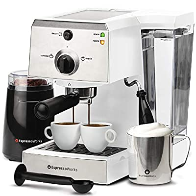 EspressoWorks 7 Pc All-In-One Espresso Machine & Cappuccino Maker Barista Bundle Set w/Built-In Steamer & Frother (Inc: Coffee Bean Grinder, Milk Frothing Cup, Spoon/Tamper & 2 Cups), (White)
