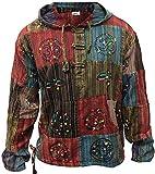 SHOPOHOLIC FASHION Stonewashed Streifen Patchwork Hippie Kapuze Großvater Shirt - Multi, Multi, 4XL