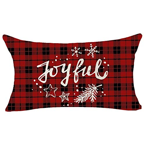 ASTIHN Merry Christmas Joyful Blessing Gift for Family and Friends Cotton Linen Throw Pillow Cover Cushion Case Home Chair Office Decorative Lumbar 12 X 20 inches