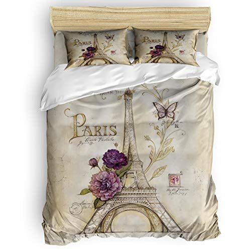 Cloud Dream Home 4 Pieces Luxury Duvet Cover Set Paris Themed Eiffel Tower Full for Kids/Girl/Women/Adults Vintage Brown, Breathable Bedding Comforter Cover Sets with Zipper, 4 Corner Ties