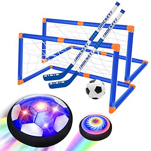 GPTOYS Air Football, Juguete Flotante de fútbol para niños con luz LED y Parachoques de Espuma, Juego de Juguete para Interiores y Exteriores para niños Juguetes niños 3-12 años