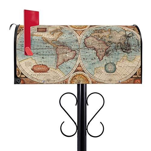 BANJADO US Mailbox | Amerikanischer Briefkasten 51x22x17cm | Letterbox Stahl schwarz | mit Motiv Historische Weltkarte | inkl schwarzem Standfuß