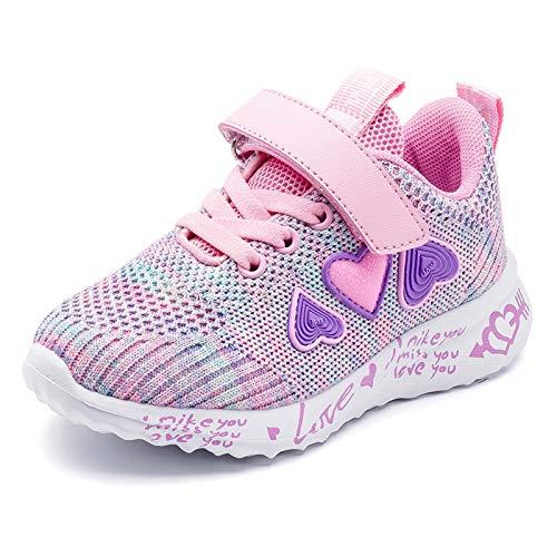 Ragazze Rosa Scarpe Sportive Ttraspirante Stradali Running Shoes Leggero Sneakers Bambina Scarpe Casual Porpora 27