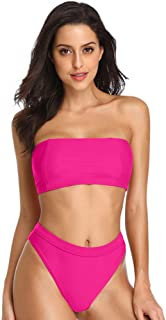 Women's Two Piece Bikini Sets Sexy Bandeau Top High Waisted Bottom Beach Swimwear