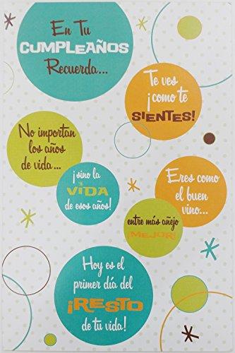 'Eres como el buen vino - Ho es el primer dia del resto de tu vida!' Feliz Cumpleanos - Cute Funny Humor Getting Older Aging Happy Birthday Greeting Card in Spanish