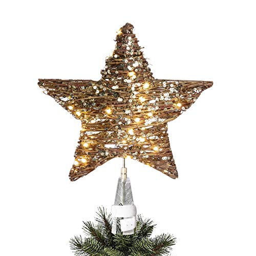 Vanthylit Pre-Lit Christmas Tree Topper Star Rattan Natural Star Treetop with Mains Powered Warm White LEDs