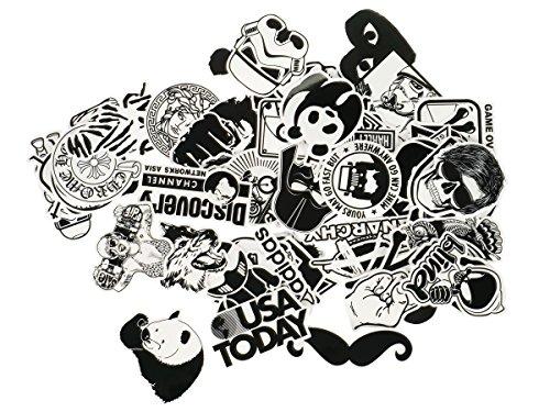 Smartkey Vinilo Adhesivo Blanco y Negro con Varios Motivos Comic, Brands, etc, cantidad: 60Unidades
