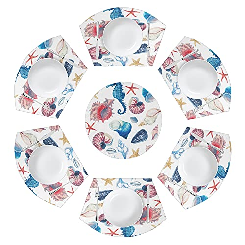 MAHU Ocean Seahorse Seashells Round Table Placemat Set of 7, Starfish Conch Wedge Place Mats with Centerpiece Non Slip Washable Heat Resistant Table Mat for Home Kitchen Dining Table Runner Decor
