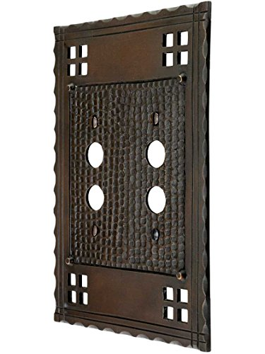Arts and Crafts Double Push Button Switch Plate in an Oil-Rubbed Bronze Finish