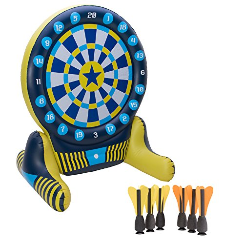 Big Sky Giant Inflatable Dartboard Set - Outdoor Lawn Dart Game for Adults & Kids - Soft Tip Darts with Floating Bullseye - Fun Games for Pool Party, BBQs, Backyard, Drinking, Tailgating