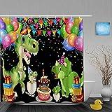 Dekoration Duschvorhang Geburtstagsfeier Luftballons Kuchen Dinosaurier Druck Bad Gardinen Wasserdichter Stoff Badezimmer Dekor Set mit Haken